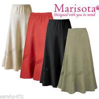 MARISOTA ANTHOLOGY PINTUCK DETAIL LINEN BLEND LONG SKIRT 4 COLOURS SIZE 14-32