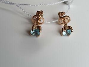3,5 mm Swiss topaz stud earrings rose gold 585 /14k screw backs NWT 1,29g