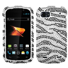 For ZTE Warp Sequent Crystal Diamond BLING Hard Case Phone Cover Zebra