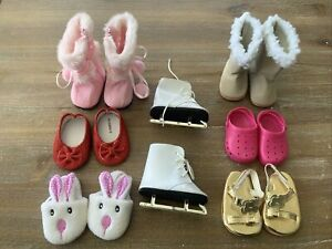 """American Girl 18"""" Doll Shoes - Pink Boots Uggs Skates Crocs Slippers Sandles Lot"""