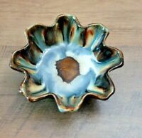 Dryden pottery drip glaze footed dish