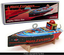 Mars Explorer robot speed boat tin wind-up space ship with stand Boxed
