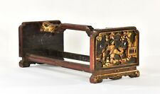 Antique Chinese Red Gilded Wooden Carving w Carved Panel & Dragon, Qing, 19th c