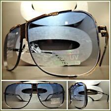 CLASSIC VINTAGE RETRO Style SUN GLASSES Matte Black & Gold Frame Light Blue Lens