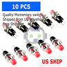 10pcs Lockless Momentary ON/OFF Push button Red Mini Switch PBS-110 M121