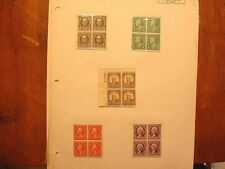 1922-25 Issue 1/2 Cent-13 Cent 4 Plate Block MNH Except 9 Cent Issue Stamps