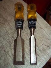 "2 PC STANLEY PROFESSIONAL WOOD CHISEL USA LOT BEVELED 3/4"" 16612 1-1/4"" 16-620"