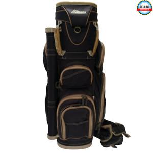 Datrek Cart Golf Bag With 14 Dividers Black & Beige 7 Pockets w Rain Cover