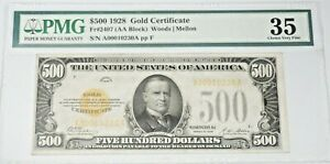United States 1928 Small Size $500 Dollar Gold Certificate Fr#2407 PMG CVF 35