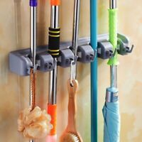 Wall Mounted Mop Rack Brush Broom Holder Hanger Organizer Storage Cleaning Tool