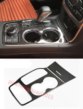 Carbon Fiber Water Cup Holder Panel Cover Trim For Jeep Grand Cherokee 16-18