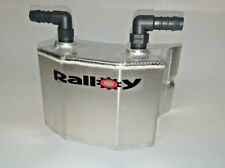 """1 litre Alloy oil catch tank shaped to fit dry sump tank 1/2"""" push on fittings"""