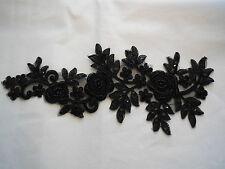 Pieza grande con cuentas lentejuelas negro de encaje y apliques Adorno de encaje floral Aprox 38.5x16cm
