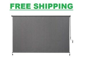 "Outdoor Exterior Roller Sun Shade 96"" X 72"" Pewter HDPE Knitted Fabric Top Down"