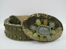 Streets Ahead Olive Green Leather Belt Embellished Buckle Size M Made in USA