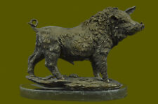 Bronze Sculpture Statue Signed Barye Wild Boar Animal Mascot Marble Base Deal