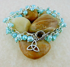 Celtic Trinity Knot cha-cha blue pearl bracelet with citrine gemstones