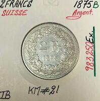 SUISSE - 2 FRANCS 1875 B - Pièce de Monnaie en Argent // TB