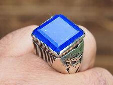 Oriental Antique en Argent massif Bague Lapis Lazuli d'Afghanistan No. 10