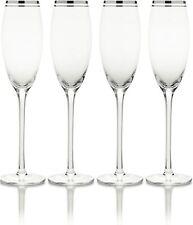 More details for mikasa haley platinum rim 4pc flute glasses 207ml 5188798 champagne/wine glass