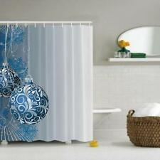 1.8*1.8mBlue White Hanging Chrismas Ball Ornament Fabric Bathroom Shower Curtain