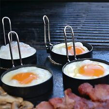 BBQ Buddy EGG RINGS WITH FOLD-ABLE HANDLE, Non Stick Coating, 4 Pieces