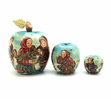 Unique Shape APPLE Russian Winter Hand Carved Hand Painted Nesting Doll set