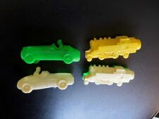 Vintage Plastic Pencil Sharpeners 2 Racecars & 2 Locomotive Trains