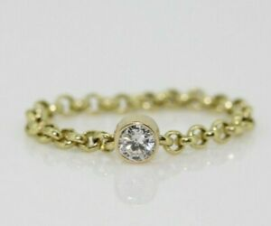 9ct Yellow Gold 0.15ct Diamond Solitaire Chain Flexi Ring Size K, US 5 1/4