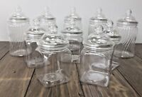 10 x Mixed Spiral & Square Sweet Jars Candy Cart Buffet/Table Wedding/Party
