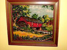 Rural Landscape Red Covered Bridge, Stream Water, Barn - Fabric Tapestry FRAMED
