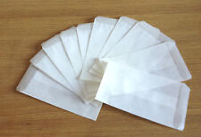 500  GLASSINE ENVELOPES/BAGS-73 x 117 mm + 12-14mm  flap-TOP QUALITY UK PRODUCT