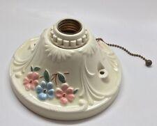 Vintage PORCELIER Art Deco Porcelain Ceiling Wall Light Fixture Ivory Floral