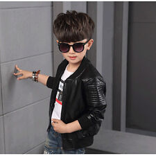 Chic Baby Boy Coats PU Leather Jackets Kids Outerwear Jacket for 90-160cm Height