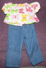 Brand New Hand Made American Girl Size Doll Outfit Blue Jeans Butterfly Shirt