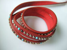 1 Meter 10x2.5mm Flat Red PU Leather Jewelry Cord With Rivet For Bracelet Making