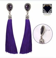 MACKRI Teardrop Shape Amethyst Gemstone Long Tassel Stud Earrings VIOLET