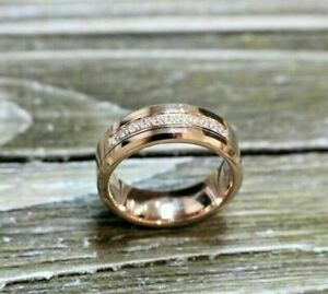 Simple Band Full Eternity Wedding Men's Ring 1.05Ct Diamond 14K Rose Gold Plated