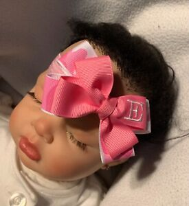 Hot Pink Camouflage Monogram Camo Dainty Baby Hair Bow Headband Personalized
