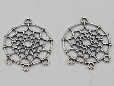 25 Tibet Silver Tone Dream Catcher Pendants 28X34mm Connector Charms Craft