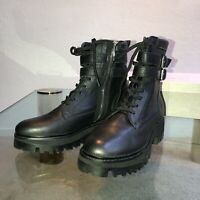 DOLCE VITA BLACK PALINE COMBAT BOOTS LEATHER WITH STRAPS NEW WOMEN'S SIZE 10