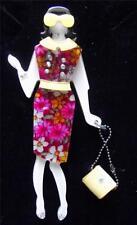 Fièvre de la qualité lucite art déco années 1960 est Kennedy robe Lady broche pin