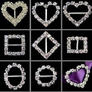 10 Piece Rectangle Circle Heart Square Diamond Crystal Buckle Ribbon Sliders