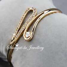 18K Yellow GOLD GF Womens Bangle BRACELET with SWAROVSKI Diamond WEDDING EX748 S