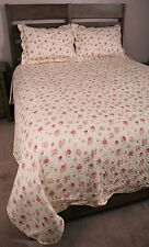 Pink Green Rosebud Shabby Chic Romantic King Quilt Set Cotton