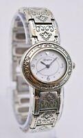Ladies BRIGHTON Pisa Silver Tone Engraved Watch, White Dial, Analog, Quartz Runs