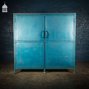 Large Blue Painted Metal Industrial Drying Cabinet Cupboard