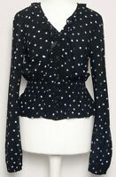 M&S Black Blue White Spotted Polka Dot Frill Button Fishtail Blouse Top Size 8