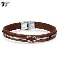 TT Brown Real Leather 316L Stainless Steel Wire Bracelet Wristband (BR240) NEW