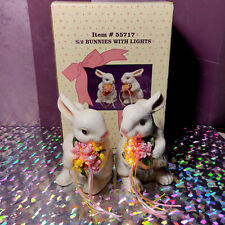 EASTER BUNNIES W/ LIGHT UP FLOWER POT vintage ceramic white rabbit bouquet tulip